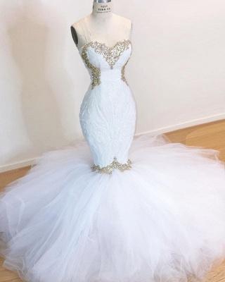 Weiße Spitze Meerjungfrau Schatz Einfache Brautkleider Zum Verkauf_2