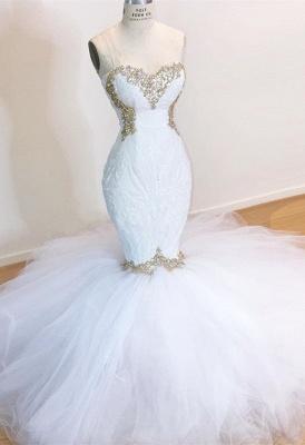 Weiße Spitze Meerjungfrau Schatz Einfache Brautkleider Zum Verkauf_1