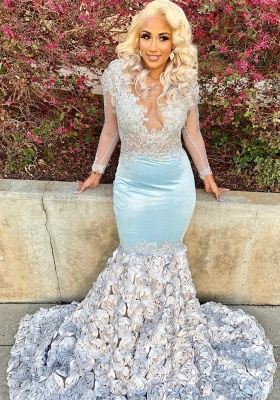 Fit and Flare Silver Flowers Baby Blue Cheap Prom Dresses | Sheer Tulle Elegant Long Sleeve Appliques Prom Gowns BC1466