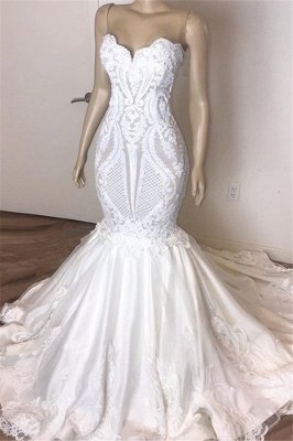 Elegant Sleeveless Sweetheart Lace Appliques Mermaid Slim Bridal Wedding Dress