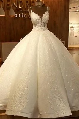 Spaghetti Straps Sparkly Lace Wedding Dresses Online   Sequins Sleeveless Dresses for Weddings