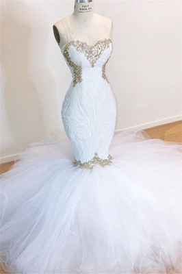 Sweetheart Sleeveless Lace Tulle Appliques Sequins Mermaid Wedding Bridal Gowns_1