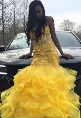 Strapless Fit and Flare Tiere Ruffles Tulle Yellow Prom Dress | Lace Appliques Corset Graduation Dress Cheap bc1635_3