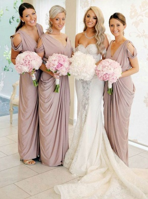 Simple V-Neck Sheath Bridesmaid Dresses   Floor Length Ruffles Evening Dress_1