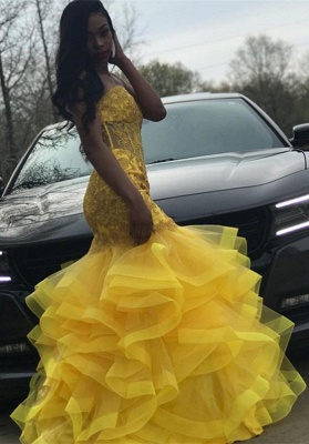 Strapless Fit and Flare Tiere Ruffles Tulle Yellow Prom Dress | Lace Appliques Corset Graduation Dress Cheap bc1635_4