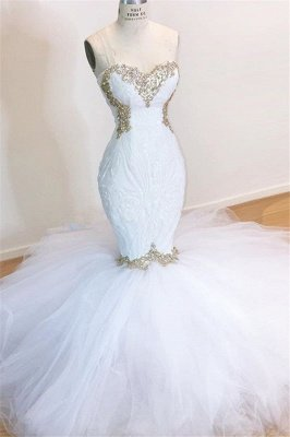 Sweetheart Sleeveless Lace Tulle Appliques Sequins Mermaid Wedding Bridal Gowns