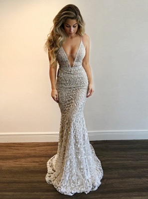 Gorgeous V-Neck Prom Dress | Lace Mermaid Evening Gowns BA9393_1