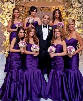 Modern Sweetheart Purple Mermaid Long Bridesmaid Dresses_3