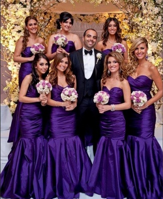 Modern Sweetheart Purple Mermaid Long Bridesmaid Dresses_2