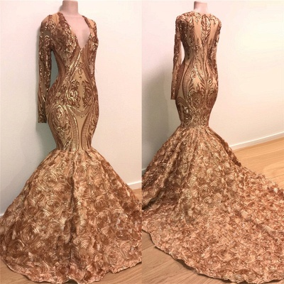Sexy V-neck Elegant Long Sleeve Gold Sparkle Appliques Prom Dress | Fit and Flare Flowers Real Prom Dress BC1373_2