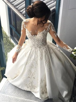 Luxury White Long sleeve A-line Sparkle Beaded Chapel Train Wedding Dress Online with Lace Appliques