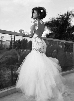 a554be4b86f White Sexy Mermaid Tulle Long Bridal Gown Long Sleeve Backless Floor Length Wedding  Dress