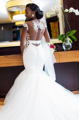 2021 Romantische weiße Meerjungfrau Cap Sleeve Brautkleid   Neuankömmling Tüll Brautkleid_2