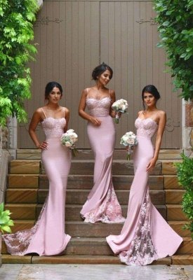 Spaghhetis-Straps Pink Mermaid Lace Elegant Prom Dresses_1