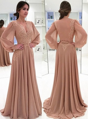 Elegant V-neck Long Sleeve Prom Dresses Onine | Chiffon Lace Bow Sexy Evening Gown_1