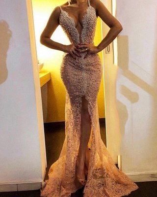Sexy Mermaid Lace Prom Dresses 2019 | Straps Front Split Beaded Cheap Evening Dresses