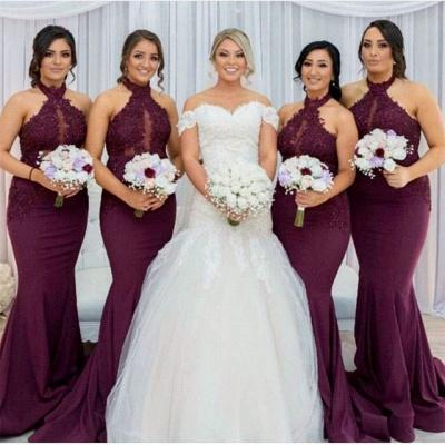 Maroon Холтер Аппликации Платья для подружек невесты   Русалка без рукавов свадебное платье_4