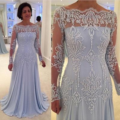 Elegante vestido de manga larga con encaje de manga larga para madre-novia_2