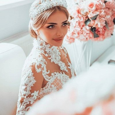 Luxury Sweetheart Lace Tulle Mermaid Spring Wedding Dress_4