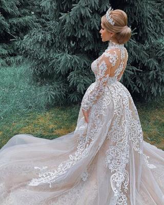 Luxury Sweetheart Lace Tulle Mermaid Spring Wedding Dress_5
