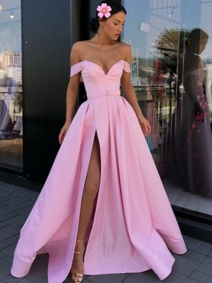 Sexy Pink Off-The-Shoulder Evening Dresses 2019 | A-Line Front Split Long Formal Dresses Online