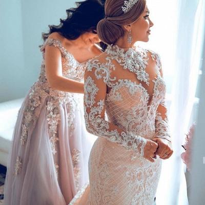 Luxury Sweetheart Lace Tulle Mermaid Spring Wedding Dress_2