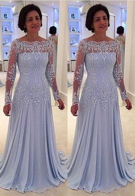 Elegante vestido de manga larga con encaje de manga larga para madre-novia_1