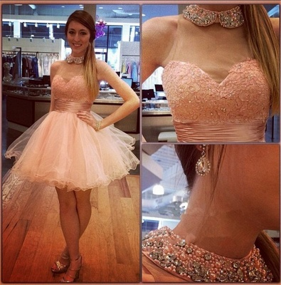 Bling Bling High-Neck Tulle Homecoming Dress Lace With Crystals_1