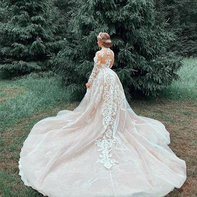 Luxury Sweetheart Lace Tulle Mermaid Spring Wedding Dress_6