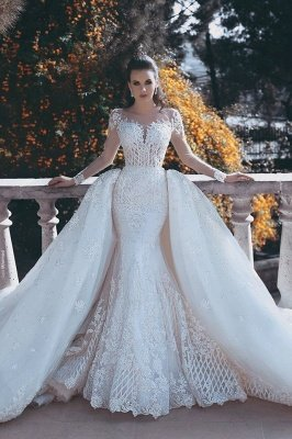 Vintage Mermaid Overskirts Long Lace Wedding Dresses_1