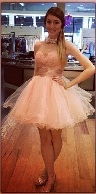 Bling Bling High-Neck Tulle Homecoming Dress Lace With Crystals_3