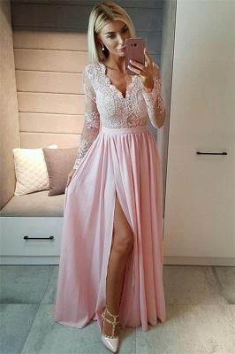 Sexy Split Langarm Abendkleid Günstige Schwarze Spitze V-Ausschnitt 2020 Prom Kleider BA7525_3
