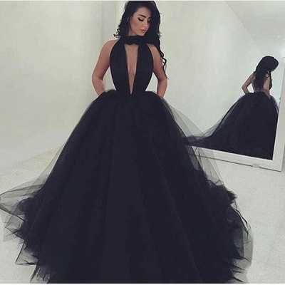 Amazing Black V-Neck Tulle Ball-Gown Prom Dress_2