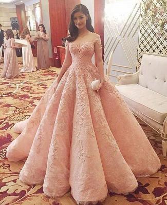 Romantisches rosa Schatz-Tüll-Ballkleid-Brautkleid mit Spitzenapplikationen_2