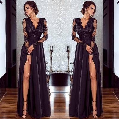 Sexy Split Langarm Abendkleid Günstige Schwarze Spitze V-Ausschnitt 2020 Prom Kleider BA7525_6