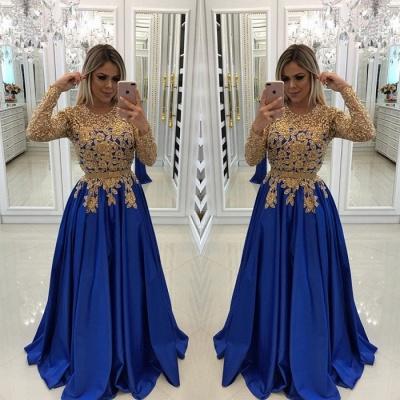 Modern Royal Blue & Gold Spitze Abendkleid | Langarm-Party-Kleid_3
