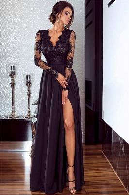 Sexy Split Langarm Abendkleid Günstige Schwarze Spitze V-Ausschnitt 2020 Prom Kleider BA7525_1
