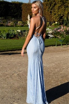 Sexy Open Back Lace Evening Dress | Mermaid Spaghetti Straps Baby Blue Fomral Evening Dress_3