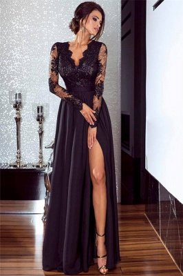 Sexy Split Long Sleeve Evening Dress Black Lace V-neck 2020 Prom Dresses BA7525