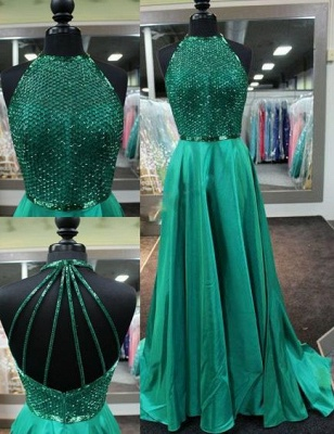 Amazing Dark-Green Halter-Neck Net-Design-Top Long Prom Dresses
