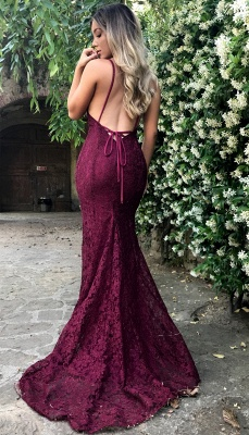 Sexy Open Back Burgundy Lace Formal Evening Dresses V-neck Backless Mermaid Prom Dress_4