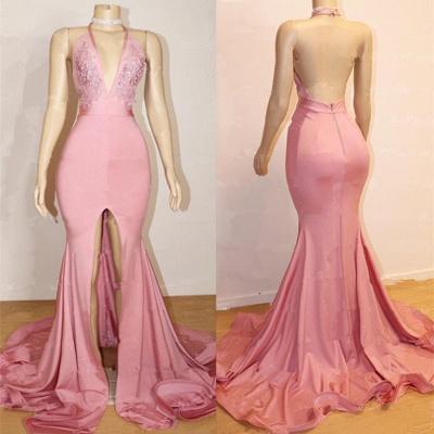 أنيقة حفلة موسيقية اللباس الوردي | عارية الذراعين الرباط مساء بثوب مع شق BA9087_3