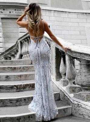 SAGE | Mermaid V-neck Spaghetti Floor-length Crystal Beads Prom Dresses_2