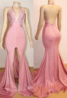 أنيقة حفلة موسيقية اللباس الوردي | عارية الذراعين الرباط مساء بثوب مع شق BA9087_1