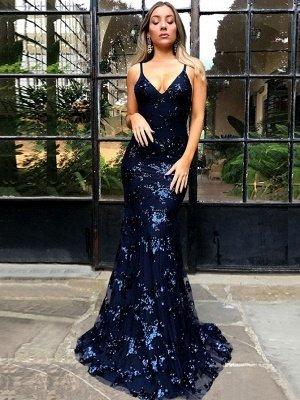 SAGE | Mermaid V-neck Spaghetti Floor-length Crystal Beads Prom Dresses_5
