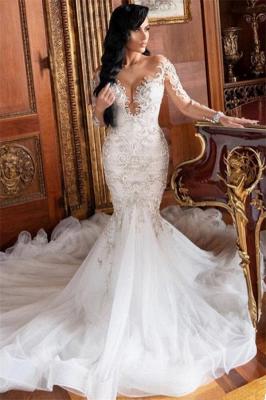 Langarm V-Ausschnitt Mermaid Court Zug Sommer Hochzeitskleid_1
