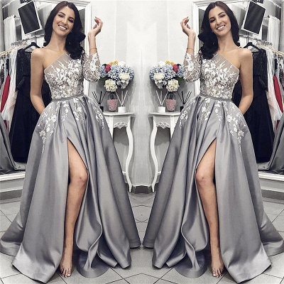 One Sleeve Sexy Slit Prom Dresses | Silver Grey Lace Appliques Long Evening Dresses_2