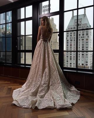 Sexy V-Neck Sleeveless Prom Dress Long Sequins BA3399_4