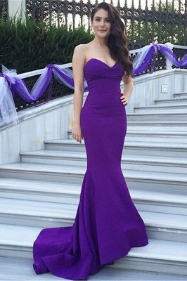 Modern Purple Mermaid Sweetheart Sleeveless Evening Dress Sweep Train