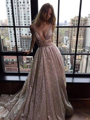 Sexy V-Neck Sleeveless Prom Dress Long Sequins BA3399_1